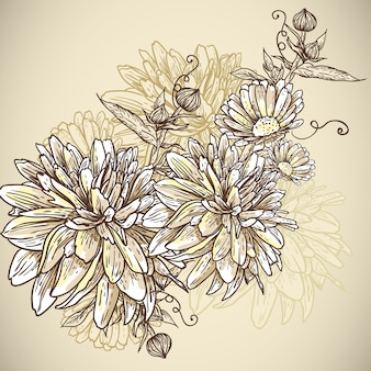 Fondo floral con flores florecientes