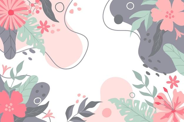 Fondo floral grabado dibujado a mano vector gratuito
