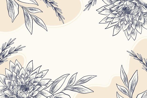 Fondo floral grabado dibujado a mano