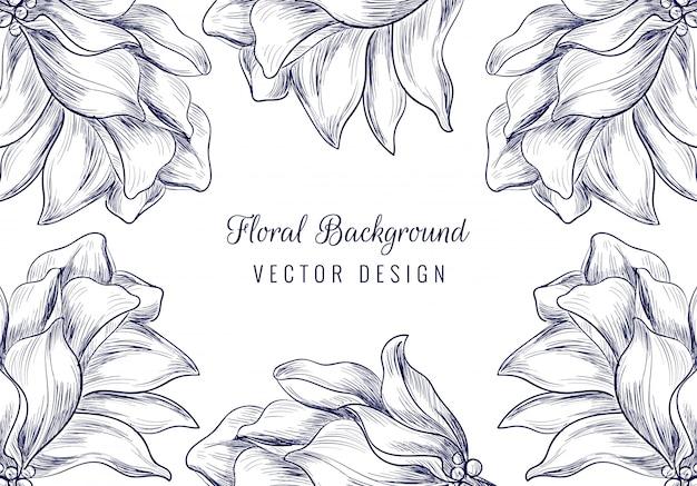 Fondo floral hermoso del ornamento de la boda dibujado a mano