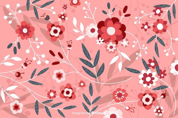 Fondo floral hermoso plano rosa