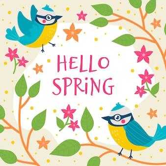 Fondo floral hola primavera con pájaros