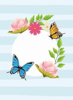 Fondo floral en marco circular con flores y mariposas.