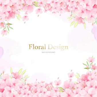Fondo floral del marco de la flor de cerezo