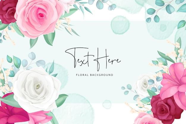 Fondo floral con marco de flores hermosas dibujadas a mano