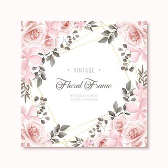 Fondo floral del marco de las flores del vintage