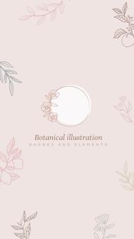 Fondo floral con marco y plantas en estilo lineart.