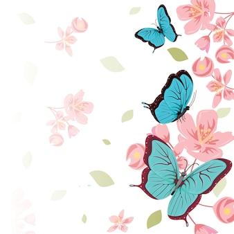 Fondo floral del marco de la primavera del verano de la flor de mariposas