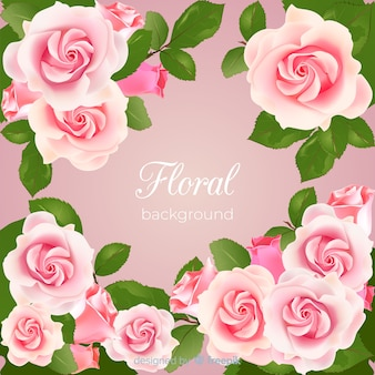 Fondo floral moderno con diseño realista