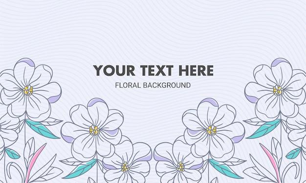 Fondo floral natural dibujado mano color simétrico