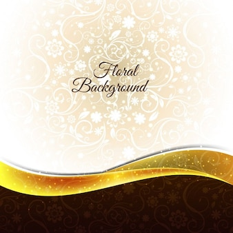 Fondo floral con onda dorada