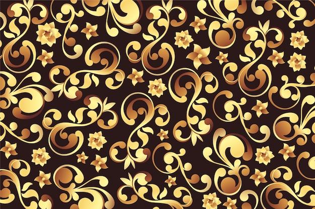Fondo floral ornamental dorado