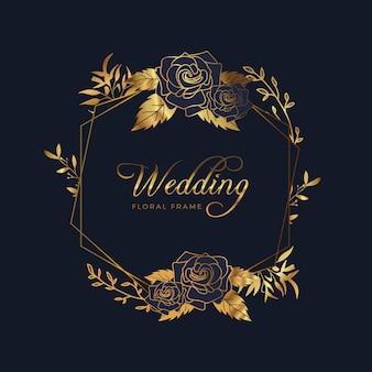 Fondo floral de oro del aniversario de boda del marco