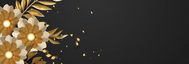 Fondo floral de oro de lujo 3d