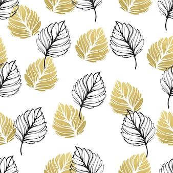 Fondo floral otoñal dorado. brillo con textura de patrones sin fisuras con hojas doradas y negras de otoño. ilustración de vector eps10