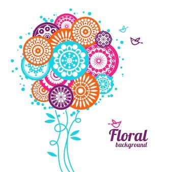 Fondo floral con pájaros de dibujos animados