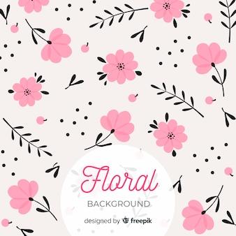 Fondo floral plano rosa y negro
