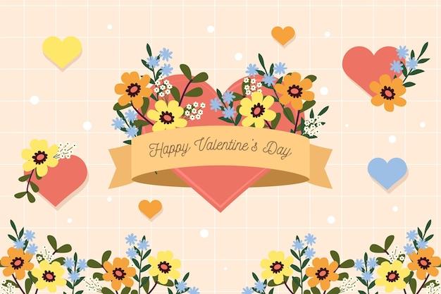 Fondo floral plano de san valentín