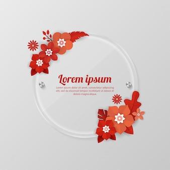 Fondo floral con plantilla de marco de vidrio para eventos comerciales, vacaciones y saludo, tarjetas de invitación