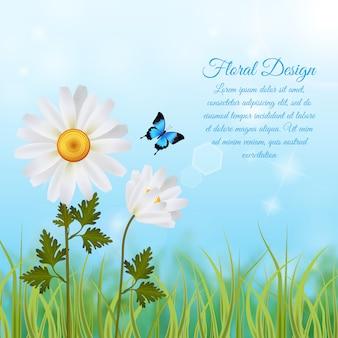 Fondo floral con plantilla de texto