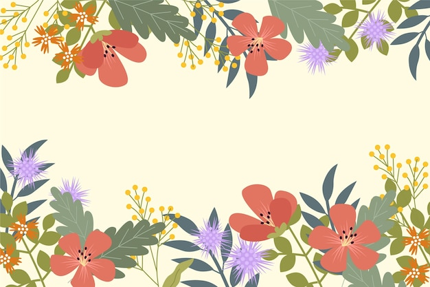 Fondo floral primavera dibujado a mano
