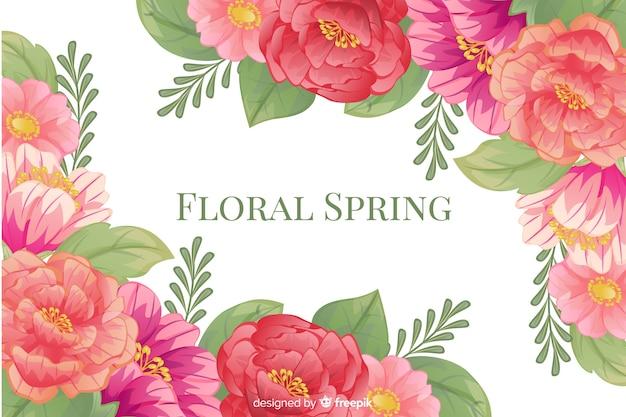 Fondo floral primavera con marco colorido