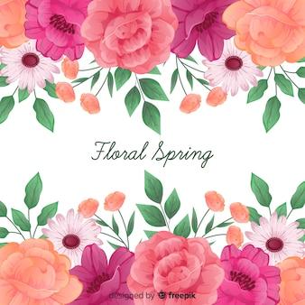 Fondo floral primavera con marco de rosas