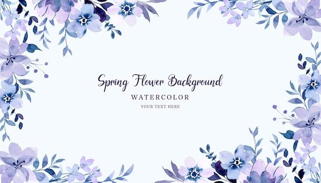 Fondo floral primavera púrpura con acuarela