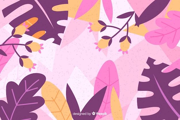 Fondo floral púrpura dibujado a mano