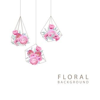 Fondo floral con ranúnculos y flores de amapola en terrario