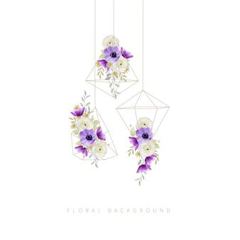 Fondo floral con ranúnculos y flores de anémona en terrario