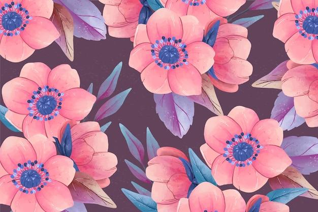 Fondo floral realista colorido pintado a mano