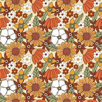 Fondo floral retro inspirado en los años 60 y 70 sin patrón en colores cálidos