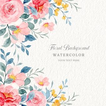 Fondo floral rojo y rosa con acuarela