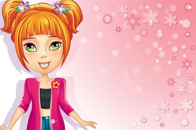 Fondo floral rosa con chica adolescente.