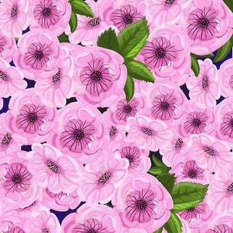 Fondo floral rosa con flores de sakura.