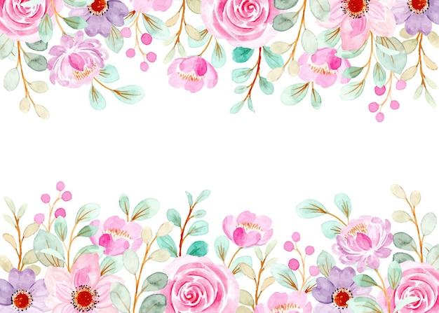 Fondo floral rosa suave con acuarela