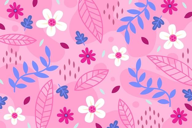 Fondo floral rosado plano abstracto