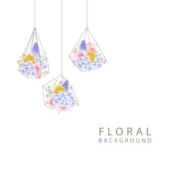 Fondo floral con rosas y hortensias