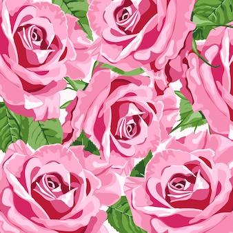 Fondo floral de rosas rosadas brillantes para invitaciones de boda