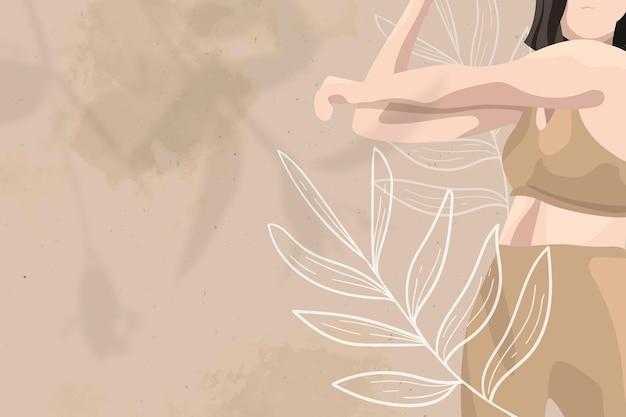 Fondo floral de salud de la mujer en tema de bienestar marrón