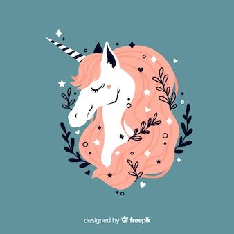 Fondo floral de unicornio adorable en diseño plano