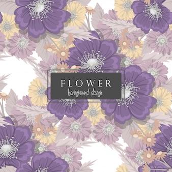 Fondo floral vector flores de color púrpura de patrones sin fisuras