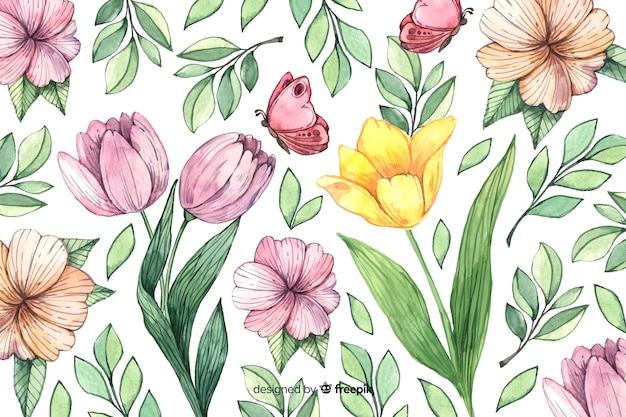 Fondo floral vintage acuarela