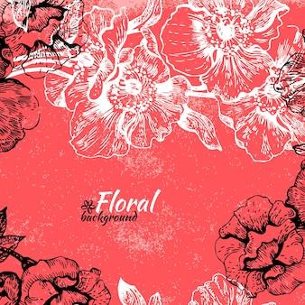 Fondo floral vintage. dibujado a mano ilustración de rosas