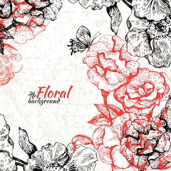 Fondo floral vintage. ilustración dibujada a mano de rosas y mariposas