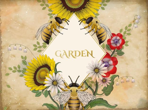 Fondo de flores y abejas de miel, estilo de sombreado de grabado retro dibujado a mano con forma de rombo en blanco en el medio