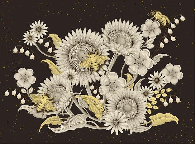 Fondo de flores y abejas de miel, estilo de sombreado de grabado retro dibujado a mano sobre fondo marrón oscuro