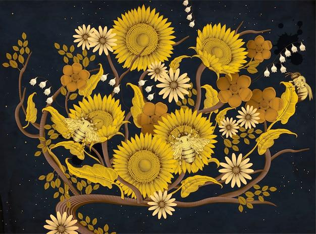 Fondo de flores y abejas de miel, estilo de sombreado de grabado retro dibujado a mano en tono amarillo y azul oscuro