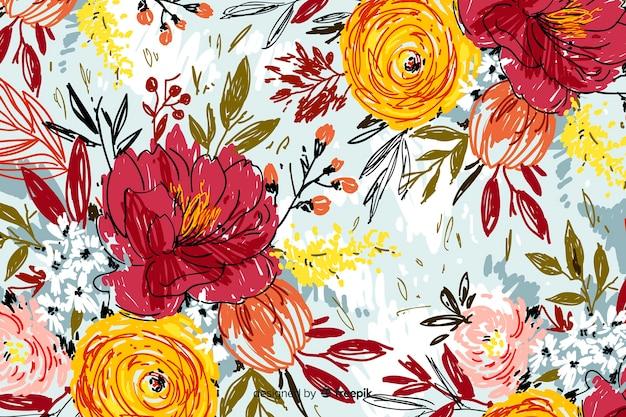 Fondo de flores abstractas pintadas a mano